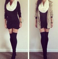 Wrap dress, thigh high socks, scarf and long jacket