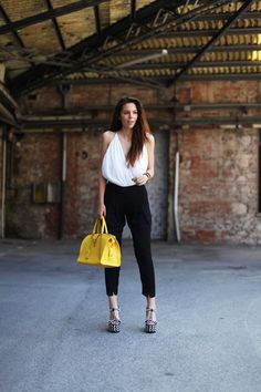 A monochrome chic look today with killer heels and a colour pop YSL bag
