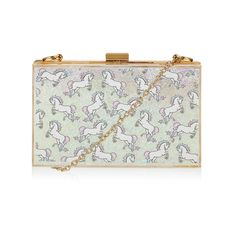 Glitter Unicorn Clutch Bag ($50) ❤ liked on Polyvore featuring bags, handbags, clutches, hard clutch, hardcase clutch, embossed purse, box clutch and glitter clutches