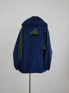 vintage Adidas windbreaker 1990s 90s navy blue wind breaker