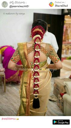 South Indian Wedding Hairstyles, Bridal Hairstyle Indian Wedding, Bridal Hairdo, Indian Bridal Outfits, Indian Bridal Fashion, Bridal Dresses, Bridal Sarees South Indian, Indian Sarees, Indian Bride Poses