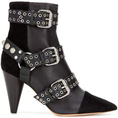 Isabel Marant Lysett Embellished Leather and Suede Ankle Boots (5.560 RON) ❤ liked on Polyvore featuring shoes, boots, ankle booties, black leather boots, black ankle booties, suede ankle boots, black suede booties and black suede ankle booties