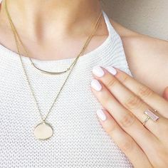 Gorgeous delicate jewelry. Layered gold necklaces. Gemstone ring with pink chalcedony. Sterling silver and gold plated jewelry!