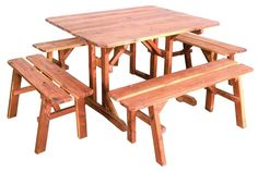 Amish Cedar Wood Picnic Table with 4 Benches There's plenty of room at the Amish Cedar Wood Picnic Table with 4 Benches. Host an afternoon pool party or evening game nights under the stars. Wooden Picnic Tables, Outdoor Garden Bench, Outdoor Tables And Chairs, Garden Table And Chairs, Patio Table, Patio Chairs, Outdoor Benches, Patio Bench, Patio Furniture For Sale
