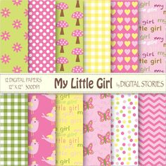 Baby Girl Digital Paper MY LITTLE GIRL Green by DigitalStories, €2.60