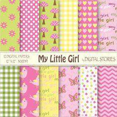 Baby Girl Digital Paper MY LITTLE GIRL Green by DigitalStories, €2.60