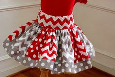 Christmas skirt red white gray grey skirt red gray chevron skirt  holiday skirt holiday clothing skirt outfit set girls toddler christmas on Etsy, $30.00