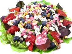 Mixed Berry Chicken Salad with a Yummy, Skinny Raspberry Ranch Dressing...This dazzling salad is not only bursting with color, it's loaded with great flavors and extremely healthy ingredients. It's one of my favorite summertime salads to make! The skinny for 1 main-course serving, including dressing, 325 calories, 5.5 gram and 8 Weight Watchers POINTS PLUS.