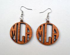 Monogram Wood Earrings. Laser cut Mahogany Wood Custom Earrings. 1.5 Inch Diameter.