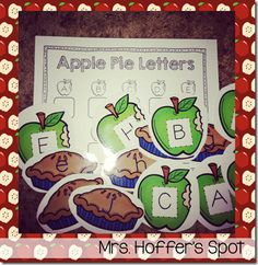 This center students will match the Uppercase Apples and Lowercase Pies. Then find the correct box, and write the lowercase in the box.