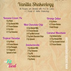 Getting Fit for Good : Vanilla Shakeology Recipes (Chicken Breastrecipes 21 Day Fix) Smoothie Proteine, Healthy Smoothie, Keto Smoothie Recipes, Protein Powder Recipes, Protein Smoothies, Protein Shake Recipes, Healthy Drinks, Fruit Smoothies, Best Shakeology Recipes
