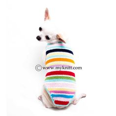 Time for a fun and colorful mixed of yarn. We added this rainbow dog shirt to our new collection. Designed and handmade crocheted by Myknitt Designer Dog Clothes. Made of 100% cotton yarn material, Not stretch. Very comfy to wear for any seasons. Any custom pet clothing are welcome.  This listing is for handmade dog clothes DK995 in size XXS. Length:8 Fits neck:8 Fits chest:10 Please kindly check your pets measurements with my pattern size chart to make sure the item fits before ordering…