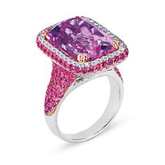 Vanna K ~ 14.04ct amethyst ring set with 2.16ct pink sapphire and 2.16ct kunzite.