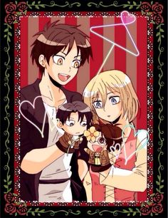 Eren.... Krista... Explain why first you two have dolls of Levi and I and why you're making the Levi doll give me a flower!?