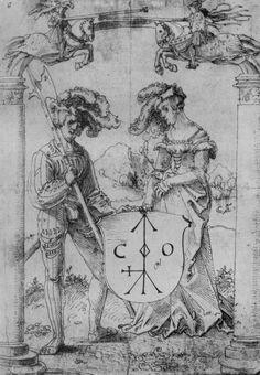 Artist: Baldung Grien, Hans, Title: Freischwebendes Wappenschild mit Landsknecht und Dame, Date: 1509-1512