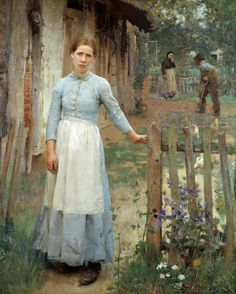 The Girl at the Gate (1889) Artist is Sir George Clausen