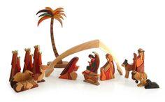 Nativity Scene 17pc Carved Wood Sculpture Set - Petite Christmas | NOVICA