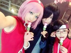 AMAZING cosplay ll Naruto ll Uchiha Family: Sakura, Sasuke, & Sarada ( So perfect <3 <3)