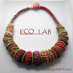 8900f8eefc59 AFRICAN STYLE - felted rondelles between each crocheted bead. for necklace