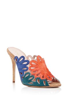 Jelia Suede Floral Cut Out Mules by OSCAR DE LA RENTA Now Available on Moda Operandi