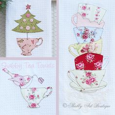 Free Applique Tea Towel Patterns | This pattern contains 3 gorgeous shabby themed tea towels.