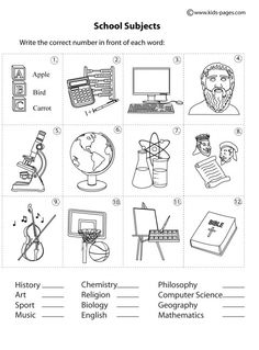 School Subjects Matching B&W worksheets