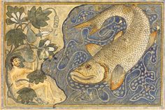 This painting was made with gouache paint, gold and ink. It is an illustration in a century manuscript by Rachid al-Din Tabib, a Persian physician and historian of Jewish descent. Tabib lived in the city of Tabriz, in northwestern Persia - Jonah Medieval Art, Renaissance Art, La Résurrection Du Christ, Illustrations Vintage, Jonah And The Whale, Whale Art, Whale Sharks, Fish Tales, Portraits