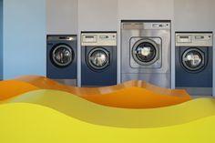 SUPERplum · EASY WASH - yellow orange blu grey washing machine