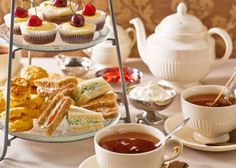 Tea, sandwiches, scones and muffins