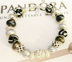 "NEW WOMAN'S 9.1"" AUTHENTIC PANDORA BRACELET BLACK AND SILVER W/BLING BEADS .925 #Pandora #European"