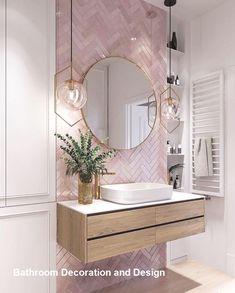 Elegant and luxurious bathroom design ideas for a stylish decor -. - furnishing ideas elegant and luxurious bathroom design ideas for a stylish decor - Pink Bathroom Tiles, Pink Tiles, Bathroom Renos, Modern Bathroom, White Tiles, Remodel Bathroom, Master Bathrooms, Boho Bathroom, Bathroom Cabinets