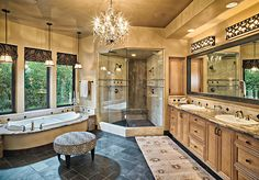 Rustic Colonial bathroom | This master bath oasis light, provided by a Bella Figura Venetian ...