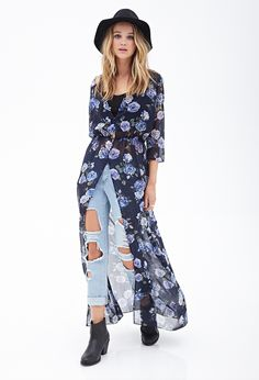 Floral Kimono Maxi Dress - Shop All - 2000124823 - Forever 21 EU
