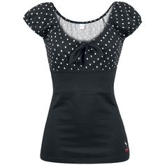 "This black girls shirt is going to be your favourite piece of clothing in your wardrobe. The black ""Dolly Dotties Shirt"" by Pussy Deluxe features a figure-hugging fit, has a nice clevage with white dottage below and there's even a small cherry embroidered at the hem - a comfortable shirt that really accentuates your body."