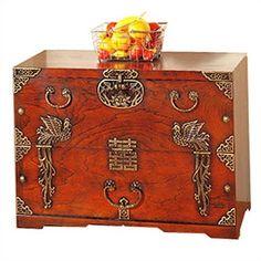 Oriental Furniture Phoenix Rising Blanket Cabinet