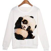 Wish | Cute Animal Sweat Shirt Mujer Panda Printed Harajuku Hoodies Kwaii Pullovers Umění Anime, Kreslené Filmy, Malby, Skeče, Plátna, Umělecká Řemesla, Pěkné Kresby