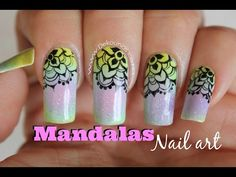 Decoración de uñas Mandalas sobre degradado - Mandala Ombre nail art - YouTube