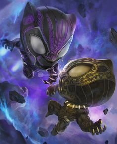Chibi Black Panther vs Golden Jaguar posted by kuchu pack Marvel Comic Universe, Marvel Dc Comics, Marvel Heroes, Marvel Cinematic Universe, Marvel Avengers, Black Panther Art, Black Panther Marvel, Marvel Characters, Marvel Movies
