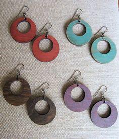 LaserCut Wooden Circle Hoop Earrings by Jbelledesigns on Etsy, $24.00