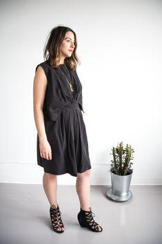 Rachel Comey dress in tencel twill using sewing pattern Vogue 1501 // Handmade by Closet Case Patterns https://closetcasepatterns.com/the-little-black-dress-of-my-dreams-rachel-comey-vogue-1501/