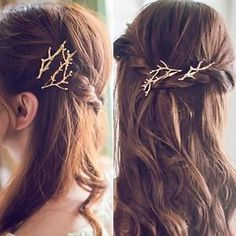 Women Girl Retro Golden Antler Hair Clip Hairpin Barrette Bobby Hair Pins t aacbbdd21105