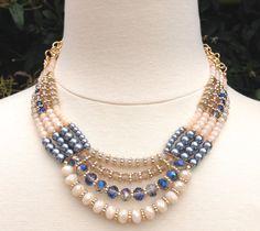 Dark Pearl Multi Strand Necklace, Pearl Statement Necklace, Black Pearl Necklace, Bib! This is the best black glass pearl multilayer beaded choker.