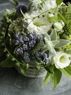 Lisianthus, Lilacs, Lamb's ear, and Echinops