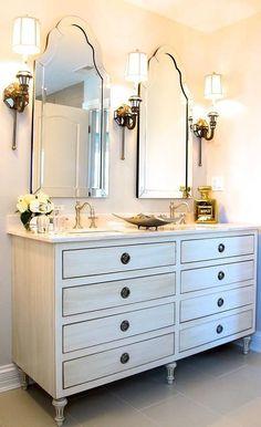 Restoration Hardware Maison Double Vanity Sink in Antiqued White bathroom Bathroom Renos, Bathroom Wall Decor, Bathroom Furniture, White Bathroom, Small Bathroom, Bathroom Mirrors, Diy Mirror, Mirror Ideas, Bathroom Lighting