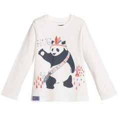 Boys Ivory 'Panda' Print Top , Catimini, Boy