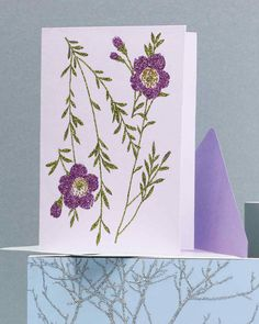 Glittered Clip-Art Cards with Floral Design | Martha Stewart Living - Make a handwritten note to Mom even more special with nature-inspired cards you create yourself.
