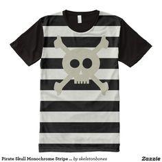 Pirate Skull Monochrome Stripe T-Shirt All-Over Print T-shirt #tlapd