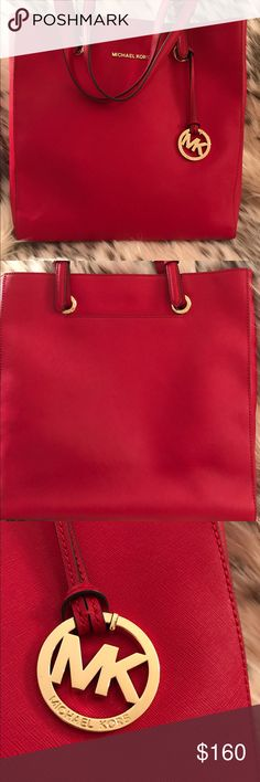 "Michael Kors red Saffiano leather tote Used but perfect condition, easily fits MacBook Pro/Air 13"". Real, water resistant leather. Michael Kors Bags Totes"