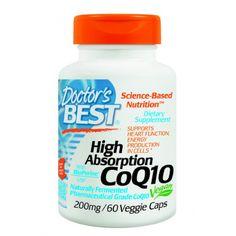 โคคิวเทน ยี่ห้อ Doctor's Best High Absorption CoQ10 (200 mg), Vegetable Capsules, 60-Count