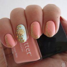 cute mermaid theme nails